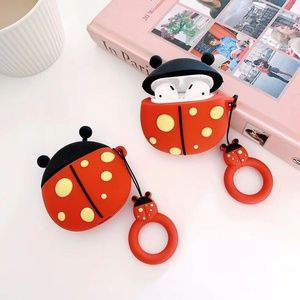 Cute Air Pods Silicone Case 3D Design Lady Bug